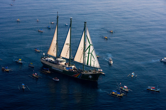 Flotilla of Fishing Boats Greets the Rainbow Warrior