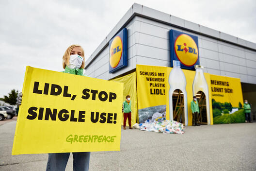 Action against Single-use Plastics at Lidl Store in Salzburg, Austria
