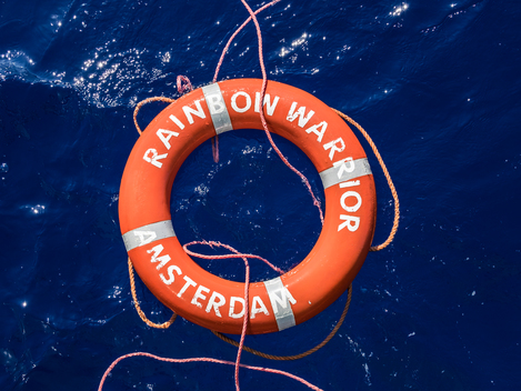 Lifebelt of Rainbow Warrior in the Mediterranean Sea