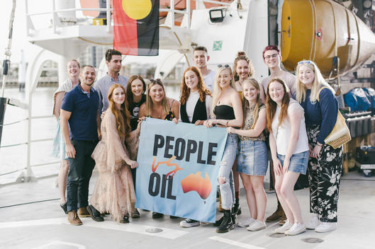 Vera Blue and Visitors on Rainbow Warrior in Sydney