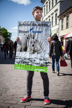 German Volunteers Protest Against First Arctic Oil for Europe
