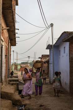 Energy Distribution Lines in Dharnai Village in India