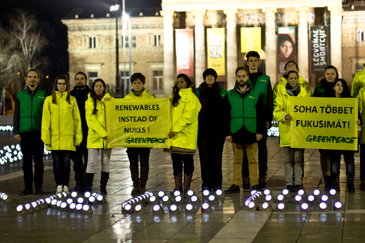 Fukushima and Chernobyl Commemoration with Wind Turbine Sign in Budapest