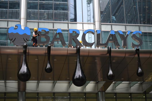 Action at Barclays' HQ in London over Dirty Oil Pipeline Funding
