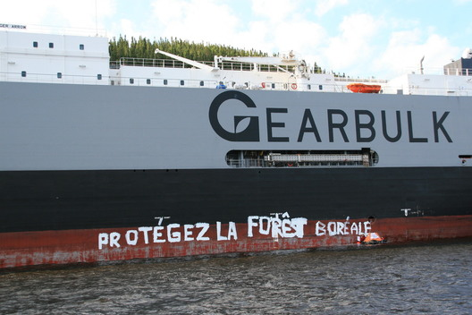 Greenpeace Paints Side of Freighter
