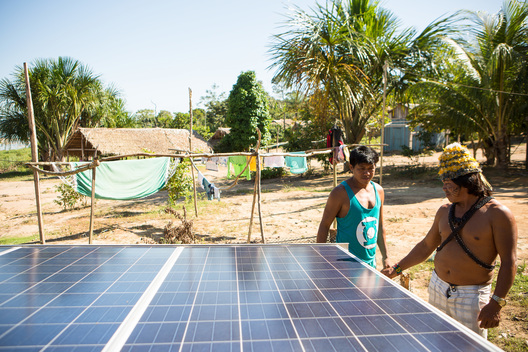 Munduruku and Greenpeace Activists Instal Solar Panels at Dace Watpu village