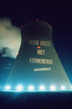 Projection Action at Doel Nuclear Power Plant in Belgium