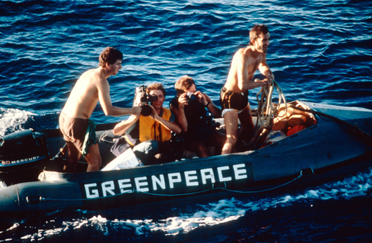 Crew MV Greenpeace in Inflatable During Pacific Peace Tour