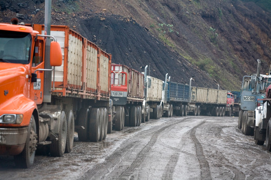 Trucks on Cerrejon Open Cast Coal Mine