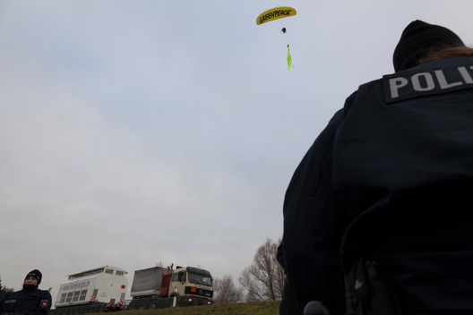 Paraglider over Castor Transport in Germany