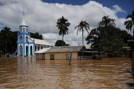 Church in Flooded Street in Porto Velho