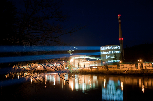 Projection on Nuclear Power Plant Muehlerberg Switzerland