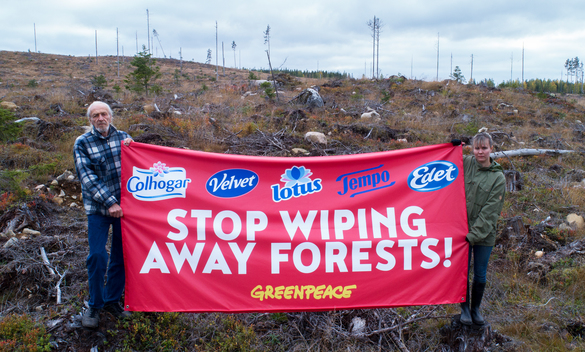 Essity: Stop Wiping Away Forests - Banner Activity in Sweden