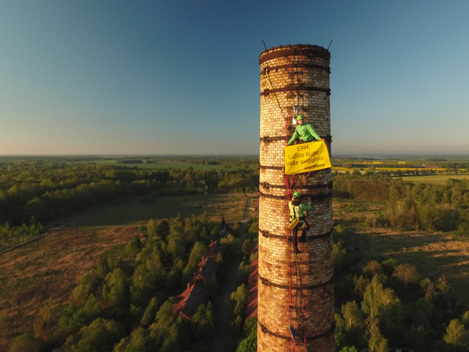 'Keep it in the Ground' Banner over Lignite Mining Area in Lusatia