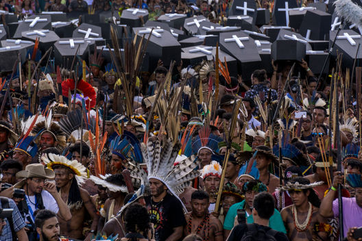 Indigenous People Deliver 200 Coffins at Brazilian Congress in Brasilia