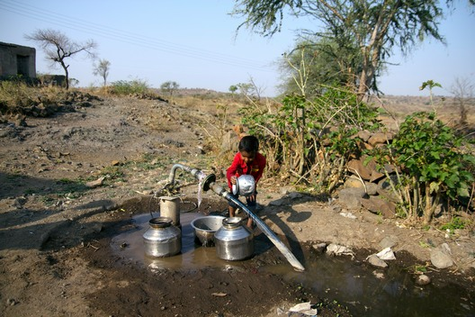 Child at Water Supply in Beed District