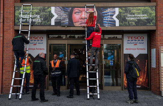 Protest with Brazil Indigenous Leader at Tesco in UK