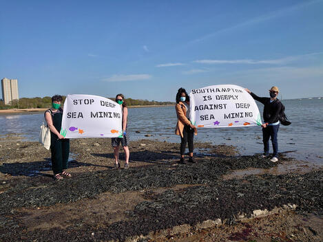 Greenpeace UK volunteers in Southampton protest against Deep Sea Mining