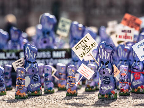 Hundreds 'Milka' Easter Bunnies Protest in Vienna, Austria