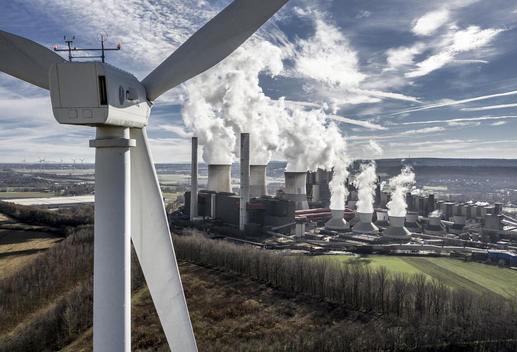 Wind Turbines at Lignite Fired Coal Power Plant Weisweiler in Germany