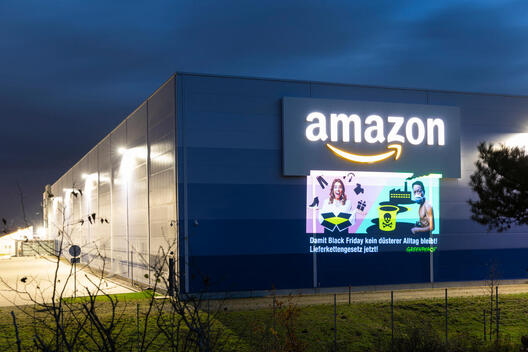 Black Friday Projection at Amazon Logistics Centre in Germany