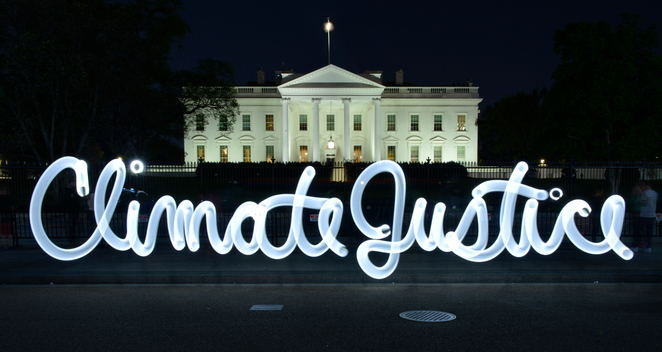 'Climate Justice' Light Graffiti at the White House in Washington D.C.