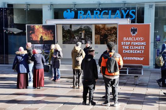 Pop-up Exhibition Blocks Barclays Bank in Cardiff