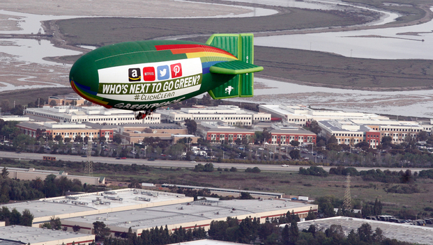Airship Flight over Facebook in Silicon Valley