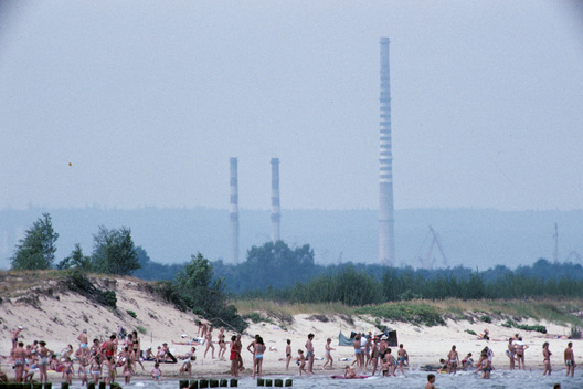 Gdansk beach with industry behind. Poland.