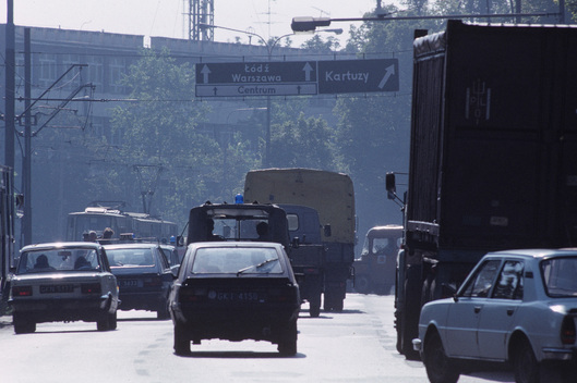 Traffic in Gdansk, Poland.