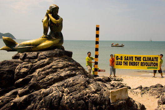 Sea Level Rise Protest at Samila Beach
