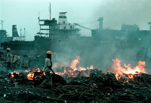 Incineration at Alang Scrap Yard in India