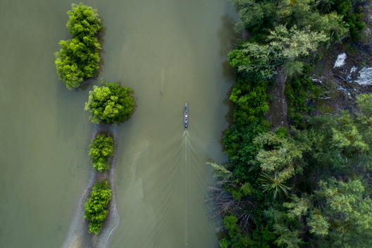 Aerial View of Boat in Mangrove Forest in southern Thailand