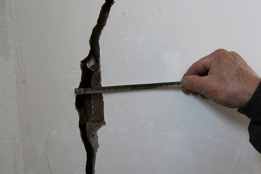 Cracked Wall in Inhabited House in China