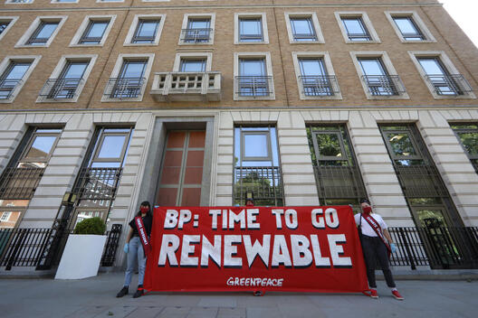 Socially Distanced Protest outside BP's AGM in London