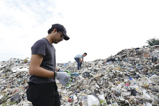 UK Plastic Waste near Wespack Recycling Factory, Malaysia