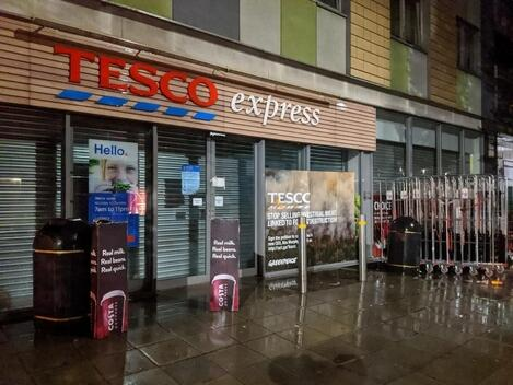 Volunteers Rebrand Tesco's Shop Windows in Clapton, London