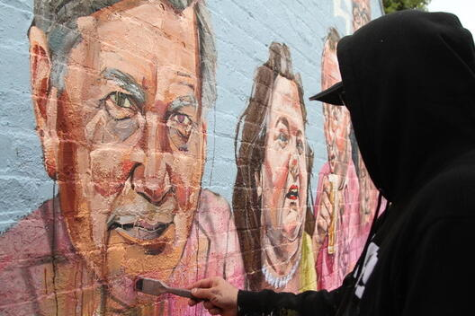 Scott Marsh's Dirty Power: Burnt Country Mural, in Sydney