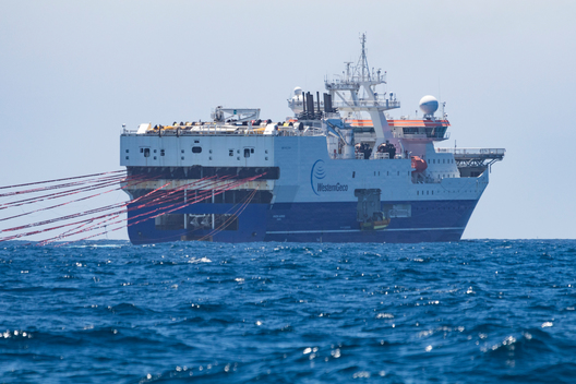 Intercepting a Seismic Testing Ship in New Zealand