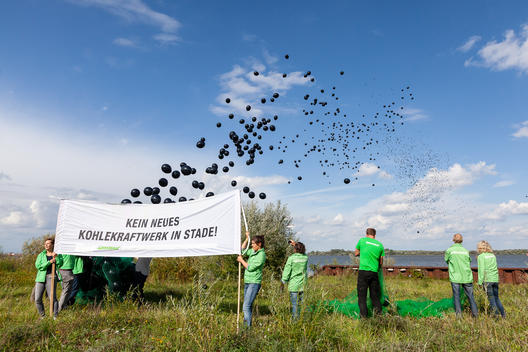 Protest Balloons against New Coal Power Plant in Stade, Germany