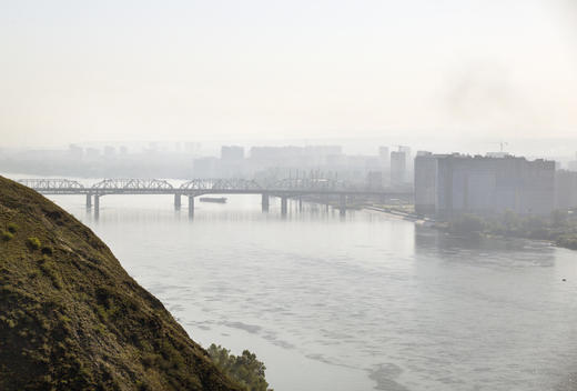 The City of Krasnoyarsk in Smoke from Siberian Wildfires