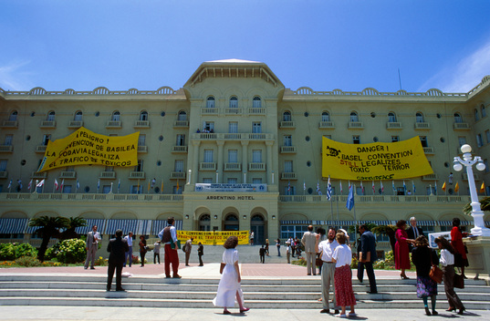 Banner Hanging Action during Basel Convention in Uruguay