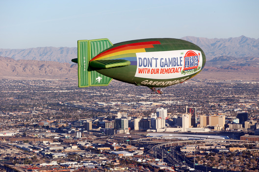 Airship Democracy Message in Las Vegas