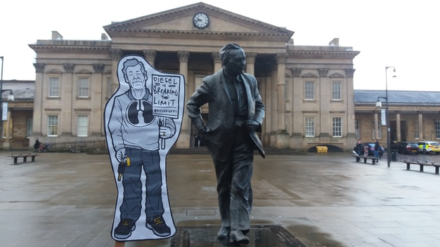 A Cutout Air Pollution Figure in Huddersfield