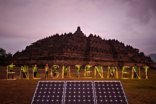 Solar Energy Lights on Borobudur Temple