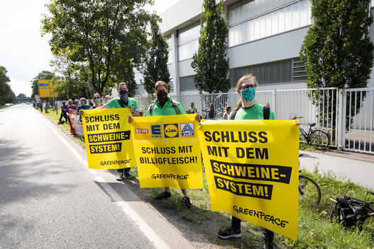 Demonstration at Meat Factory Toennies in Germany