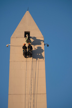 Banner Hanging Action on the Obelisk in Buenos Aires