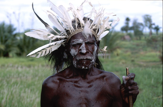 Chief Jerry Iawe of Aiambak village giving testimony on forest destruction. Papua New Guinea.