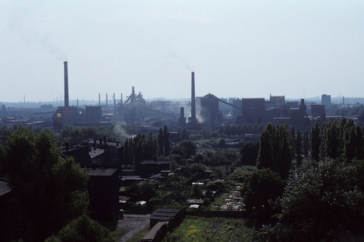 Housing and industry in Chorzow, Poland.