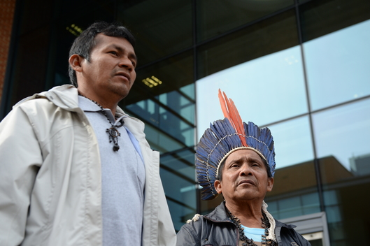 Munduruku Chiefs and Greenpeace at Siemens HQ in UK